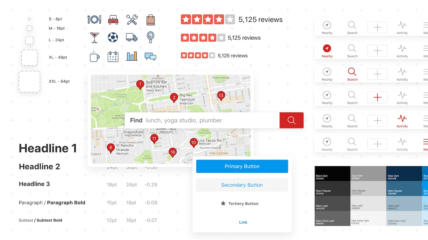 Learn more about our design system at yelp.com/styleguide