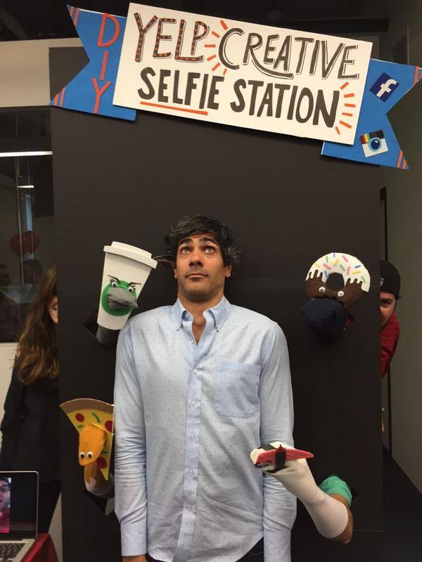 The Creative team at Yelp came up with a fun Yelp branding campaign for the Hackathon, complete with a set of mascots and a selfie station. They seem to have had some high-profile guests that day.