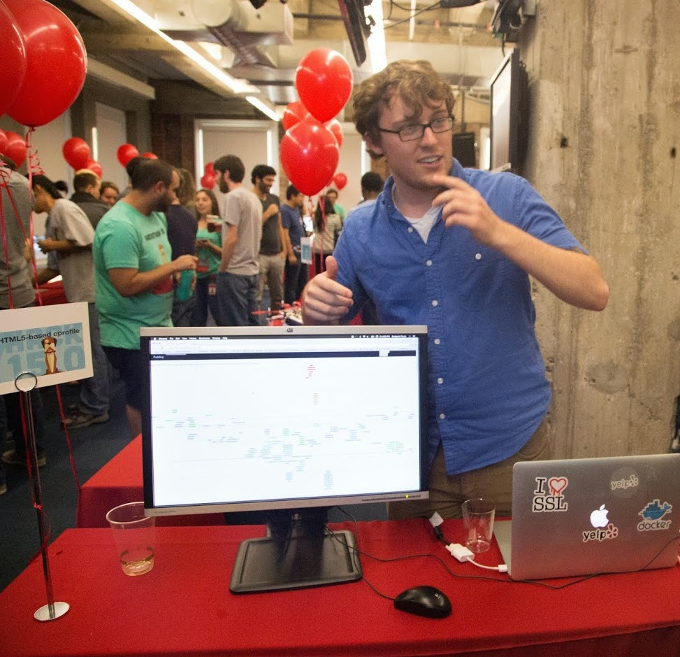 Our hackers showing off their projects in a science-fair style exhibition